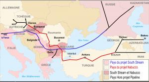 Planowana trasa gazociągów South Stream oraz Nabucco